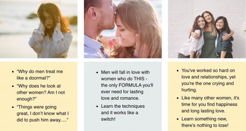 """There's a relationship """"secret ingredient"""" that a man craves in order to feel intense, committed love.   Learn this secret and join thousands other women who have successfully found love and built lasting relationships."""