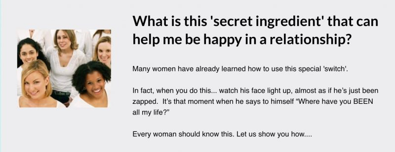 What is this 'secret ingredient' that can help me be happy in a relationship?