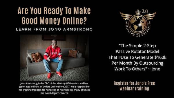 Ministry of freedom affiliate training program by Jono Armstrong - Free webinar training